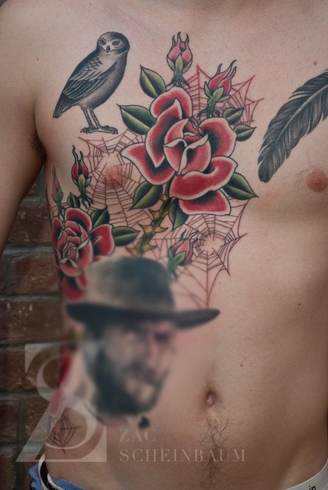 Zac Scheinbaum - Saved Tattoo-chest roses 2-Full-2012 - 2013 - 1
